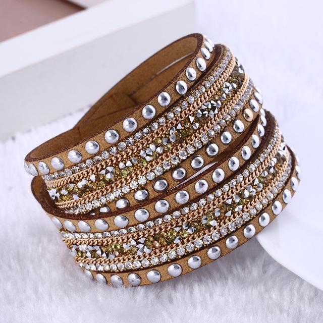 Мода ювелирных изделий кожаный браслет обруча многослойные браслет браслеты для женщин ...