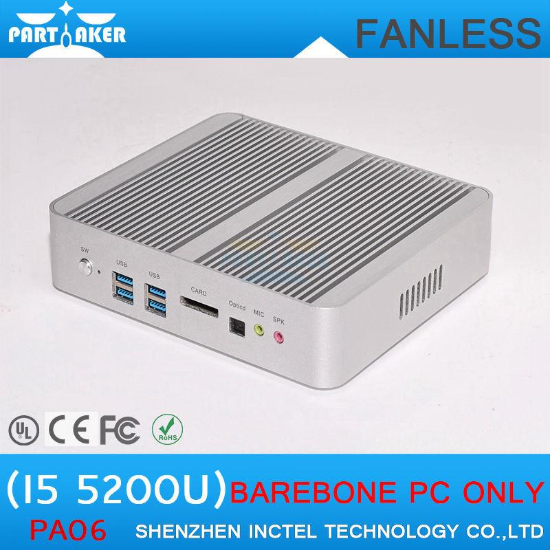 Mini PC Computer Intel Core i5 5200u HD 5500 HD 4K Fanless Mini ITX PC Rugged Case Windows HTPC(China (Mainland))