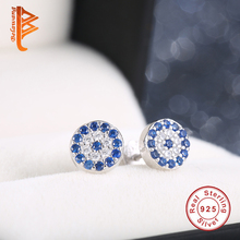 Luxury 925 Sterling Silver CZ Crystal Round Clock Stud Earrings For Women With Blue Crystal Vintage Earrings Wedding Jewelry(China (Mainland))
