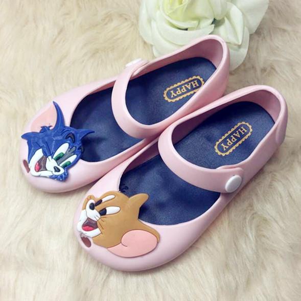 2016 летние детская обувь мини мелиссы сандалии желе томь-джерри дети обувь мягкое дно сандалии черный розовый фиолетовый голубой 13 - 15 см