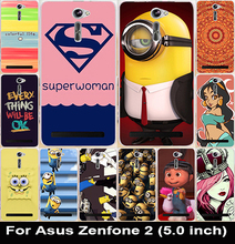 Soft TPU & Hard PC Phone Cases Asus Zenfone 2 ZE500CL 2E Z00D Housing Zenfone2 5.0 Inch Covers Yellow Minions Shell Hood - AKABEILA Official Store store