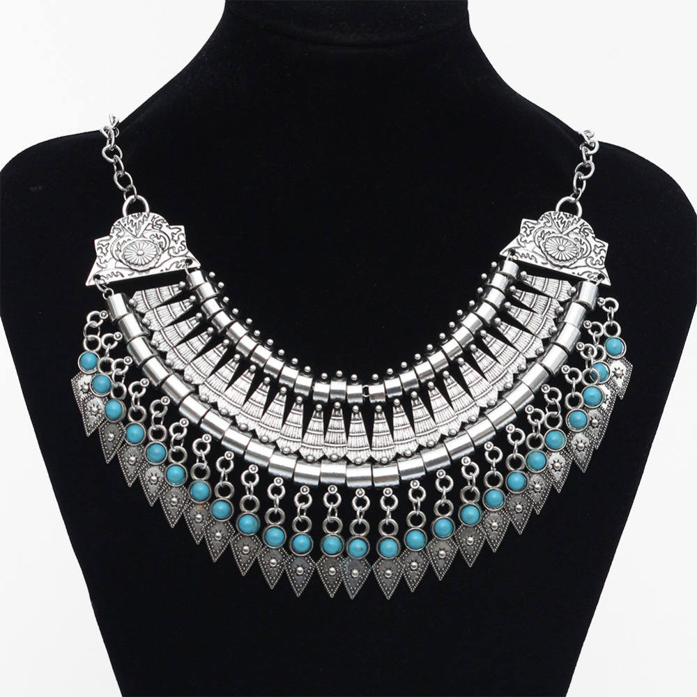2016 Fashion Power choker Statement Bohemian necklace pendants Vintage Coin gypsy ethnic Silver maxi Necklace Women fine Jewelry(China (Mainland))