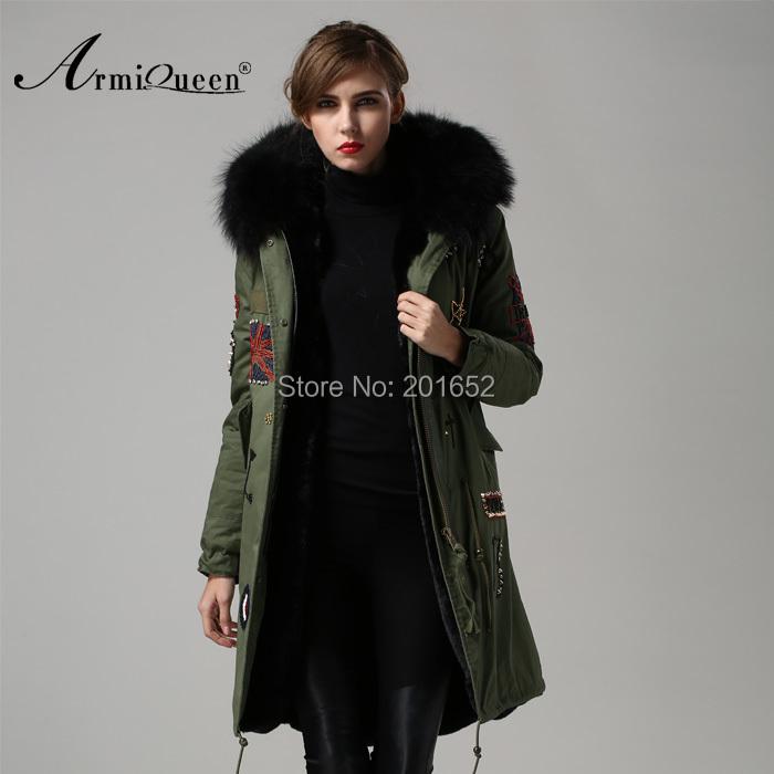 2015 New Women's coat thicken fur winter warm coats overcoat long jacket black faxu outwear mrs - Harve leger store