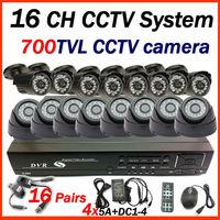 Free shipping 2015 16 CH CCTV system 8pcs indoor +8pcs outdoor 700tvl home security CCTV camera  surveillance system