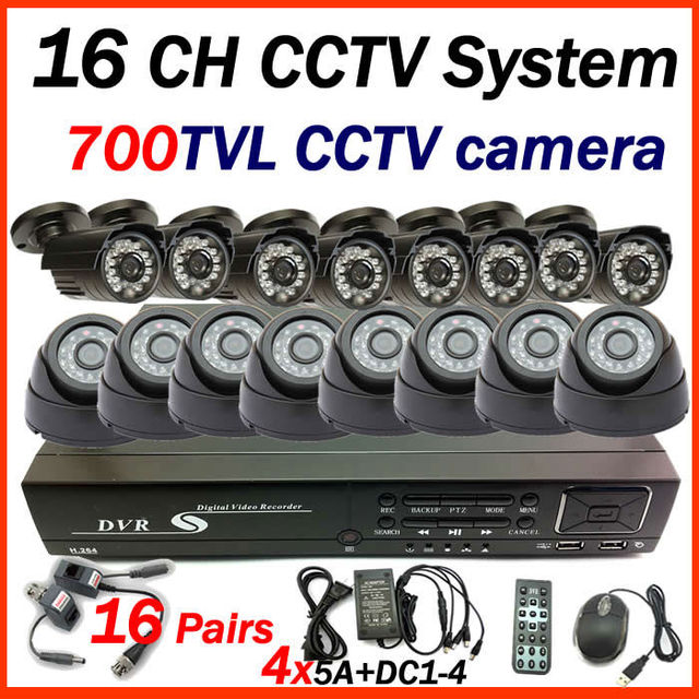 Free shipping 2015 16 CH CCTV system 8pcs indoor +8pcs outdoor 700tvl home security CCTV camera  surveillance system