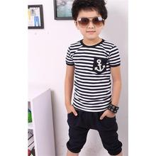 Free shipping New 2016 summer boys' clothing sets, kids pants + Top, Navy Stripe kids clothes, children tracksuit(China (Mainland))