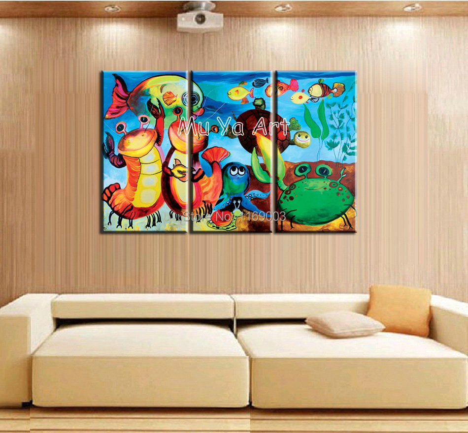 ... Fish oil painting on canvas for Kids room room bedroom decoration