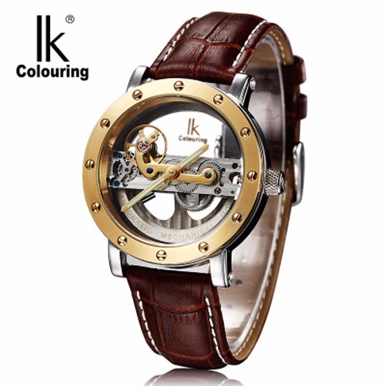 Роскошные Механическая Мужчины Водонепроницаемые Часы Лучший Бренд IK Моды Скелет Автоматические Кожаный Ремешок Повседневная Наручные Часы Relojes