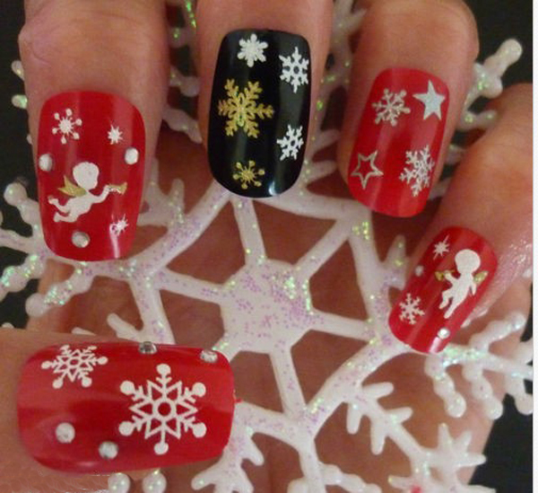 Гаджет  Christmas Snowflakes Design 3D Nail Art Stickers Decals For Nail Tips Decoration DIY Decorations Fashion Nail Accessories None Красота и здоровье