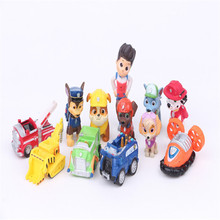 12Pcs/Set Canine Patrol Dog Toys Anime Doll Action Figures Car Patrol Puppy Toy Patrulla Canina Juguetes Gift For Child TY21
