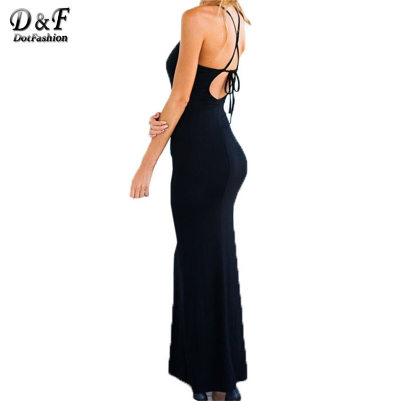 Sundresses For Women Summer Office Lady Business Wear Elegant Vestidos 2015 Black Halter Criss Cross Sexy Open Back Maxi Dress(China (Mainland))