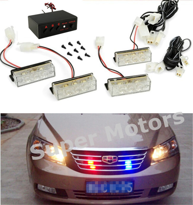 Blue / Red / Yellow White Car Truck LED Strobe Flash Warning Emergency Front Bumper Grille Driving Light Bar Police Firefighter(China (Mainland))