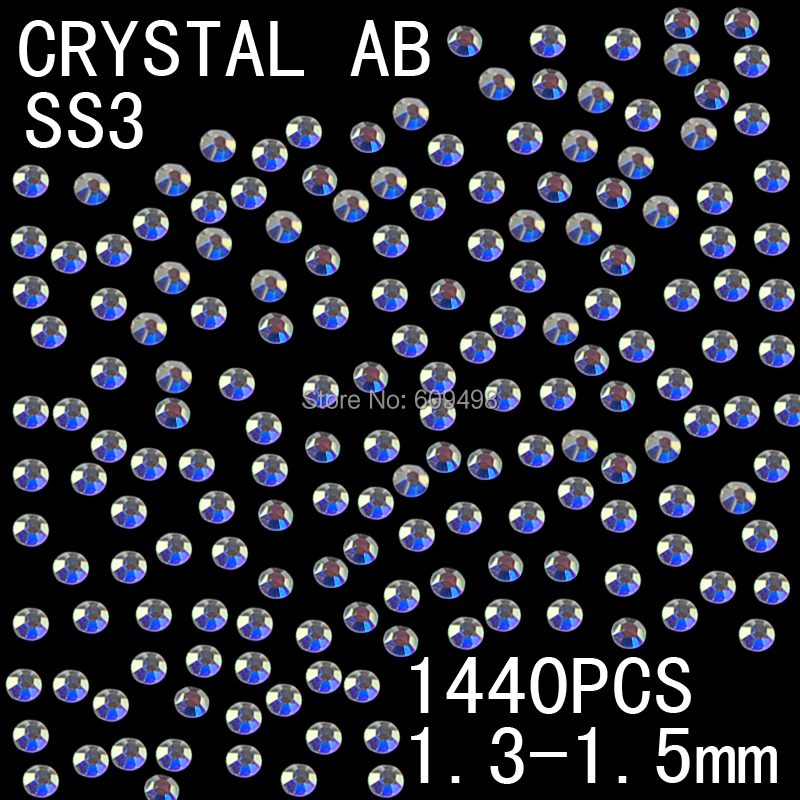 ss3 1440pcs/lot 1.3-1.5mm AB Color Shiny Flatback Crystal Glitter Nails 3D Rhinestones Decoration Nail Jewelry(China (Mainland))