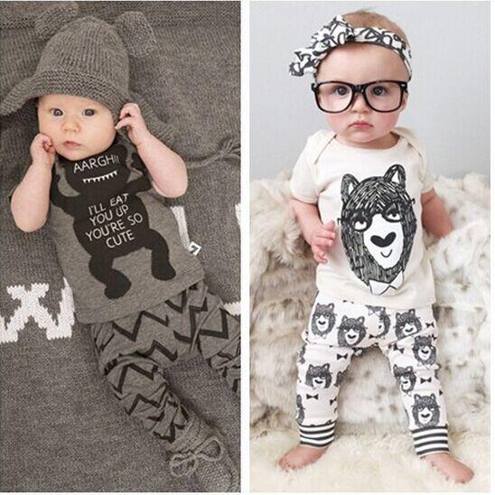 Fashion Boys&Girls Kids Small Monster Short /LongSleeve T Shirt & Long Pants 2pcs Set Pajamas Chidlren Clothing Sets(China (Mainland))