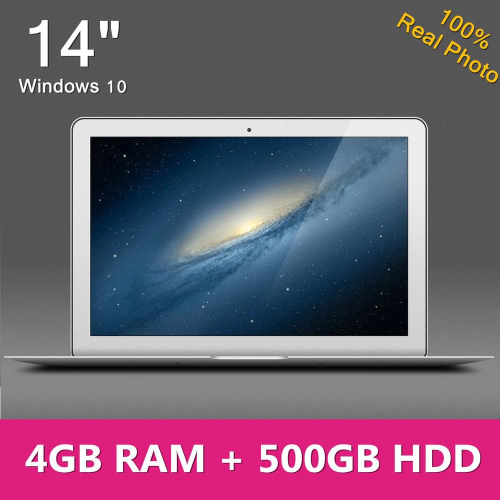14.1 inch ultrabook slim laptop computer cpu Intel 4GB RAM 500GB HDD WIFI Windows 10 7 notebook German Russian Spanish Keyboard(China (Mainland))
