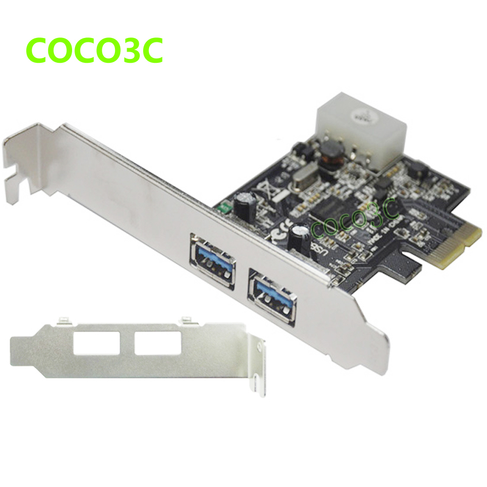 NEC Chipset 2 ports USB 3.0 PCI-e Card w / Low profile Bracket PCI Express to USB3.0 Converter Adapter 4P IDE power Supply(China (Mainland))