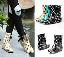 Womens Polka Dot print Rain Boots Hidden Wedge Bow Ankle Boots 3 colors(China (Mainland))