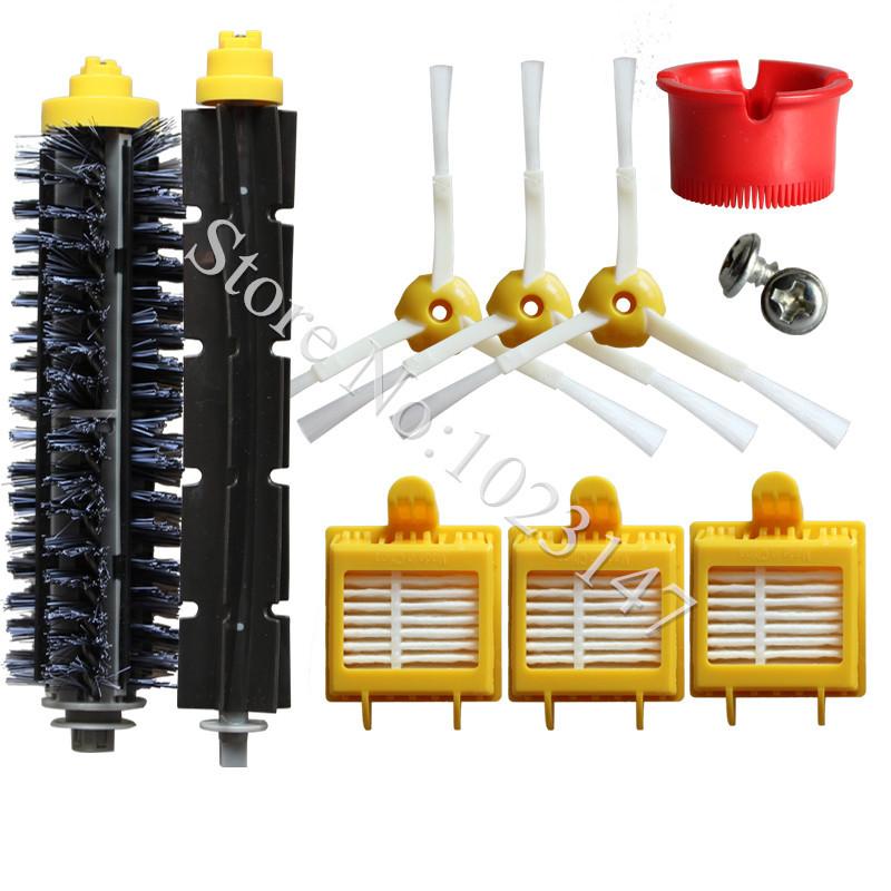 3x HEPA Filter,3x Side Brush Kit,1 set Bristle Brush Replacement for iRobot Roomba 700 Series Vacuum Cleaner Robots 760 770 780(China (Mainland))
