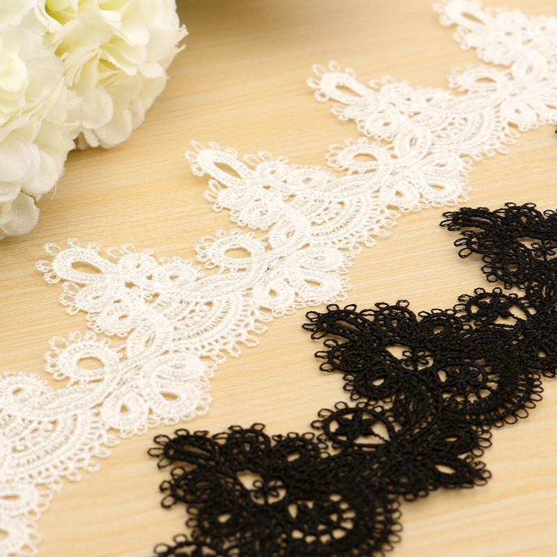 Hot Polyester DIY Sewing Crochet White Black Scallop Lace Trim Embroidered Applique Clothes Ribbon Craft(China (Mainland))