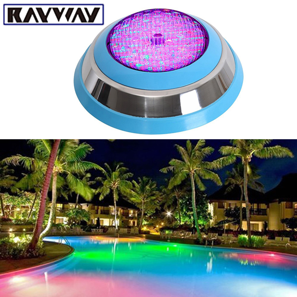 RAYWAY 2pcs Outdoor Underwater 54W RGB LED Swimming Pool Light Wall Mounted IP68 Pond Decorating Lamp AC/DC12V DHL Free Shipping(China (Mainland))
