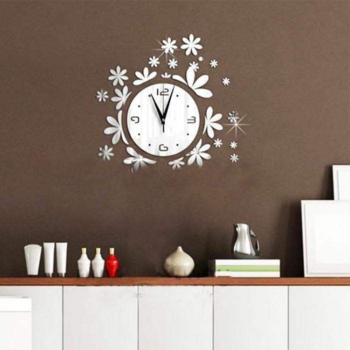 Modern acrylic mirror 3d diy quartz wall clock stickers for 3d acrylic mirror wall sticker clock decoration decor