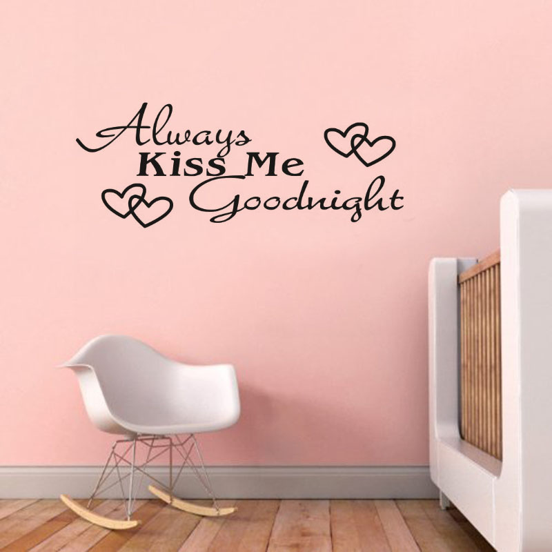 Buy always kiss me goodnight love wall for Living room quote stickers