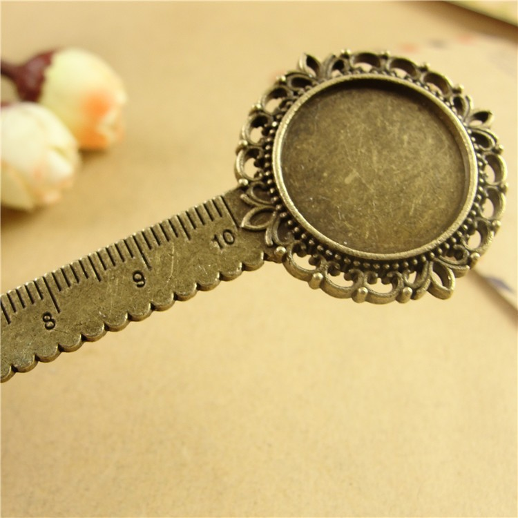 DIY Craft Flower Design Bookmark with Ruler Fit Inner 20mm Cabochon Base Vintage Metal Book Marks School Stationery Supplies