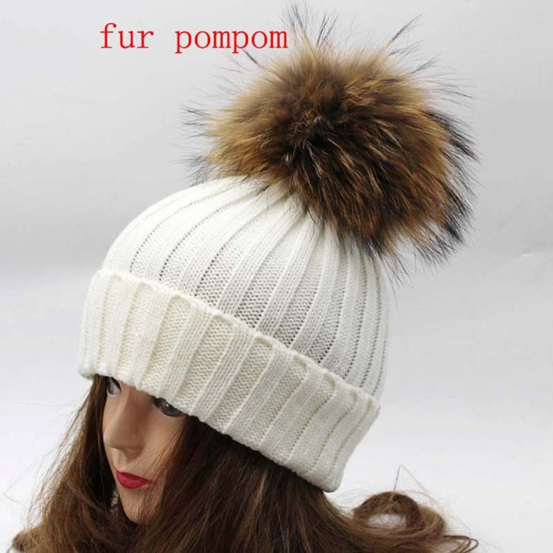 Real Racoon Fur Pom Pom Winter Hats Wool Knit Winter Bobble hat cap  Beanie Hat With Fur Pompom For Women Gift Skullies CapsОдежда и ак�е��уары<br><br><br>Aliexpress