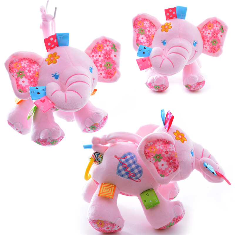 # Pink Elephant Toys Plush Wind Dolls Learning Educational Rattles Car Hanging toddler Pull Ring 8*5'' New ew - Heaven of Baby store