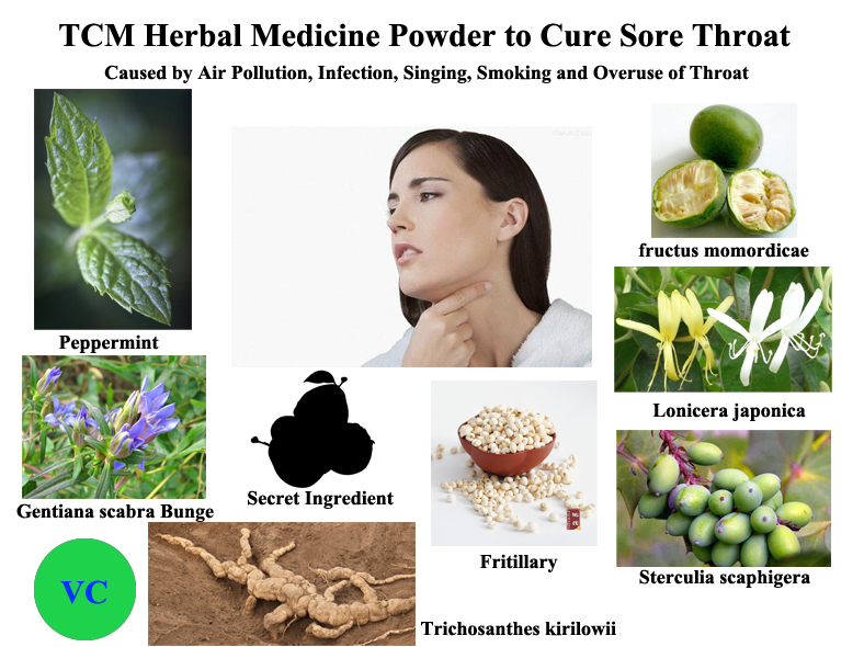 TCM Herbal Medicine Powder to Cure Sore Throat Caused by Air Pollution, Infection, Singing, Smoking and Overuse of Throat(China (Mainland))