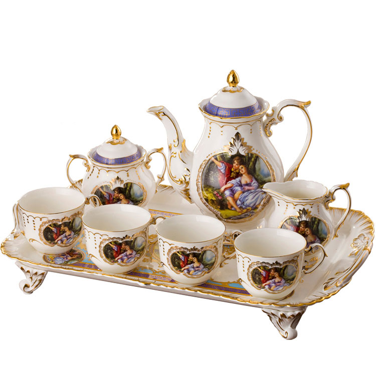 European style Coffee set Tea set high class ceramic coffee cups coffee pot and coffee