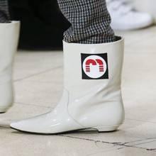 MStacchi Fashion Runway Lederen Korte Laarzen Wees Teen Geel Slangenhuid Enkellaarsjes Voor Vrouwen Regen Laarzen Platte Hak Botas mujer(China)