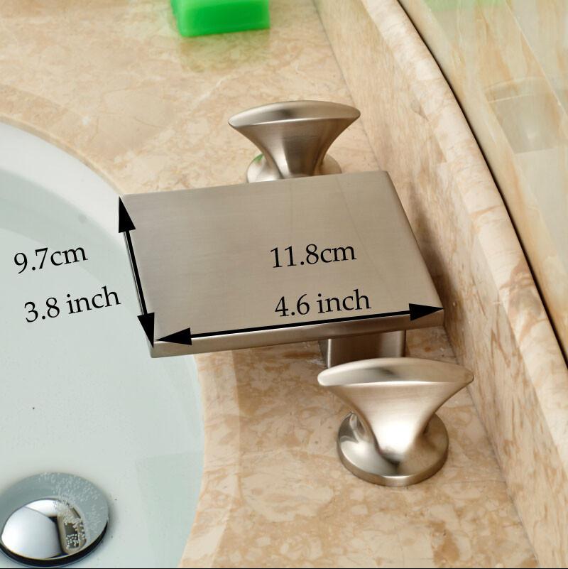 Купить 2016 Новый Водопад Ванной Бассейна Кран Палуба Гора Две Ручки Смеситель Горячей и Холодной Воды Краны Матовый Никель Отделка