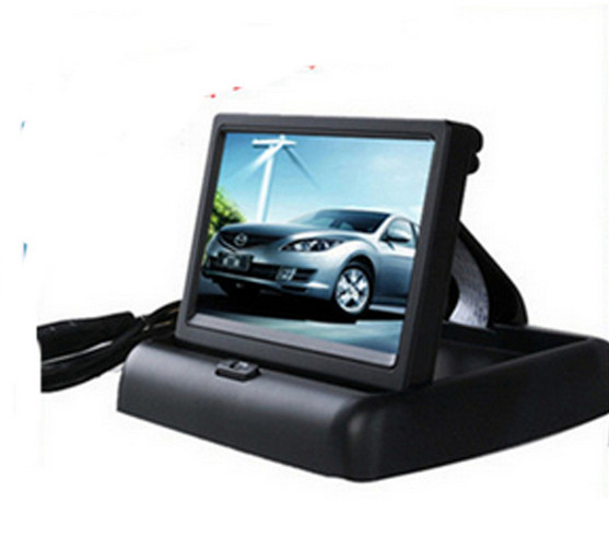 "Best price 4.3"" Foldable TFT Color LCD Car Reverse Rearview 16:9 4.3 inch car Security Monitor for Camera DVD VCR 12V(China (Mainland))"