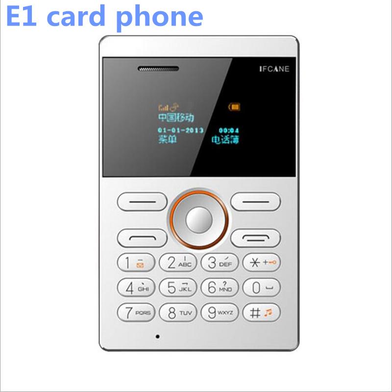 New Russian Arabic Keyboard Korean IFcane E1 Mini Phone Ultra Slim Card Phone LED Screen Qwerty GSM Phone VS Aiek M5 Card Phone(China (Mainland))