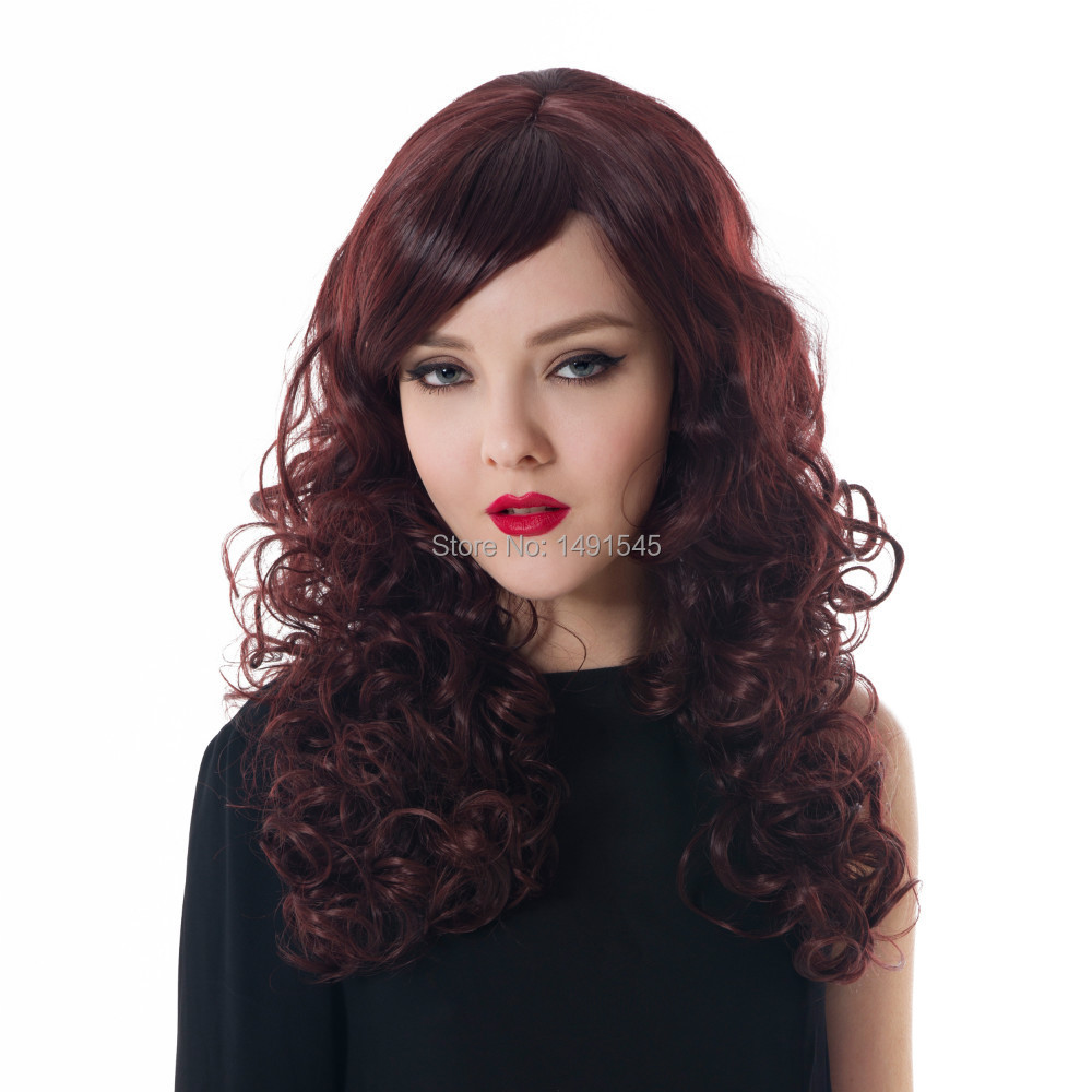 Dayiss Brand Lady 21.65 Long Wavy Curly Beauty WIne Red Fancy Full Hair Wigs Casual Wear/Cocktail Party Quality Wig Retailer<br><br>Aliexpress