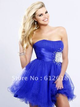 Charmeause Royal Blue Tulle Strapless Beading short/mini Cocktial/Homing Dresses