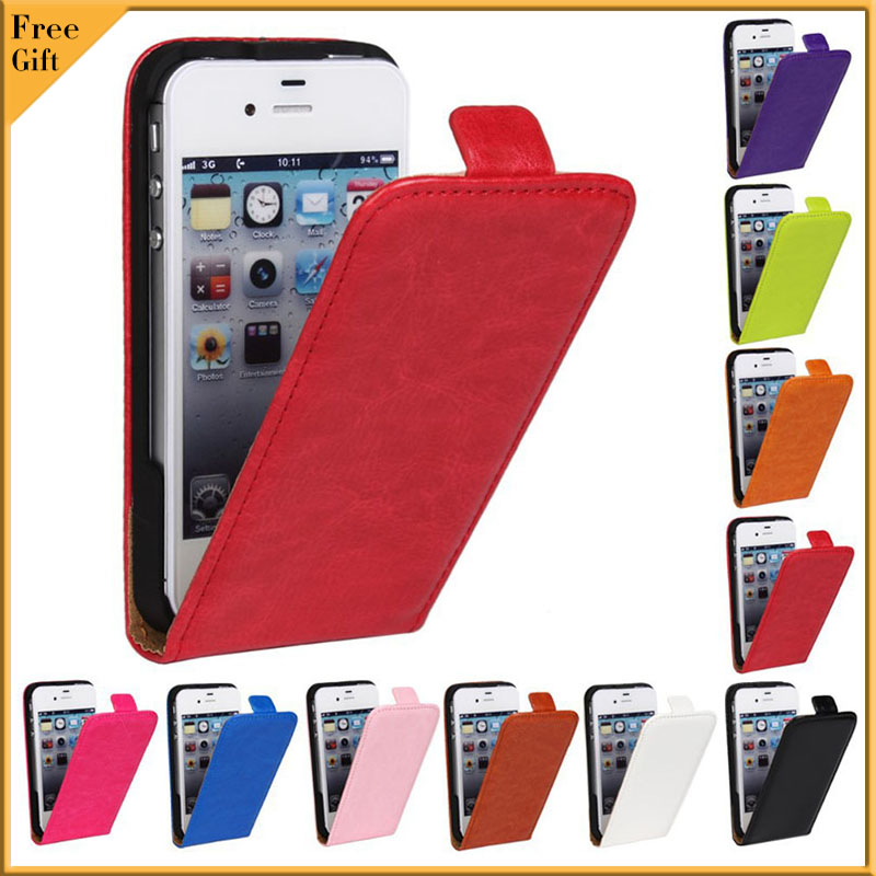 Luxury Cover Case For iPhone 4 4S Fashion Flip Vertical Phone Cover Genuine PU Leather Case For iPhone 4 4S 4G Protect Shell Bag(China (Mainland))