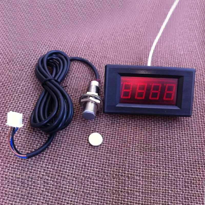 Hall Proximity Switch Sensor NPN+ 4 Digital Red LED Tachometer RPM Speed Meter #69233(China (Mainland))