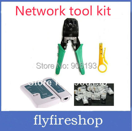 Promotion!! Free shipping network Cable Tester RJ12 CAT5 CAT5e 10/100 RJ45 Modular Plugs+Crimp Tool