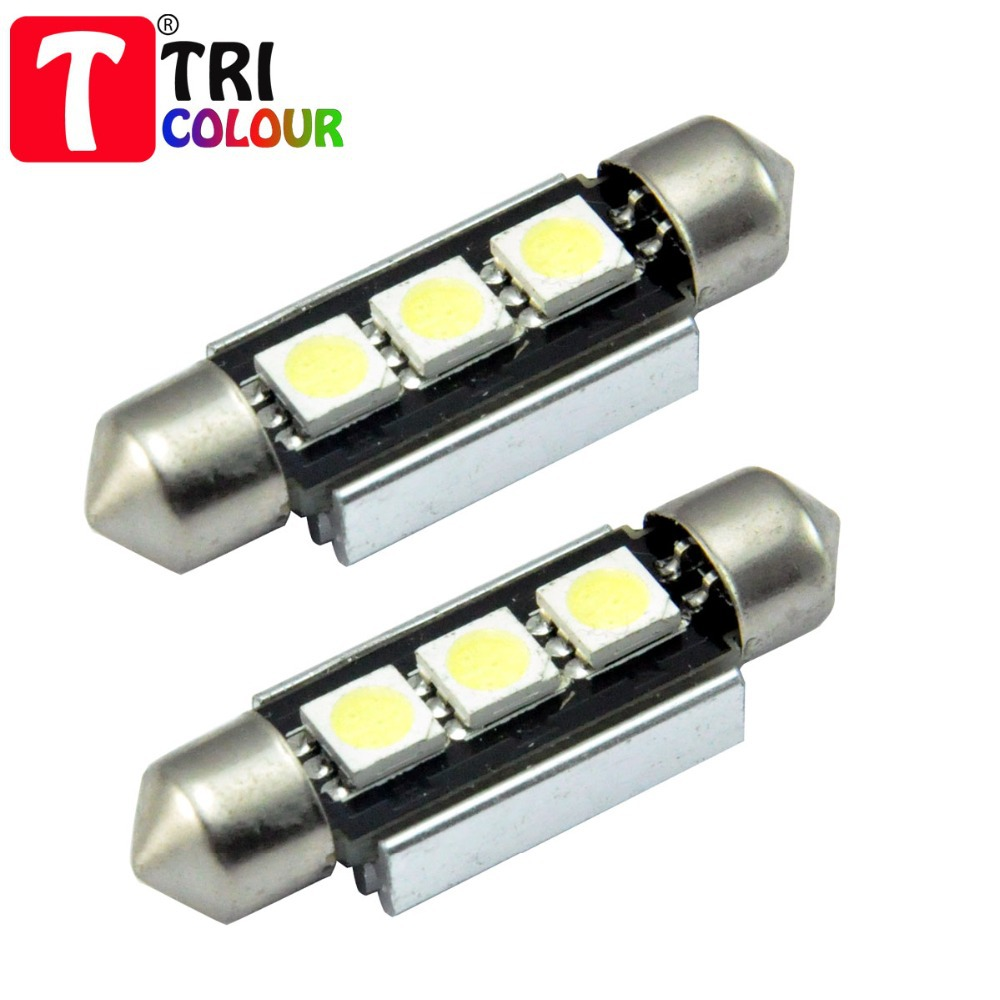 TRICOLOUR 1000x Festoon canbus 3 SMD 5050 Canbus 36mm 39mm 42mm Dome Car License plate Luggage Reading Led bulb 12V wthite #LK16(China (Mainland))