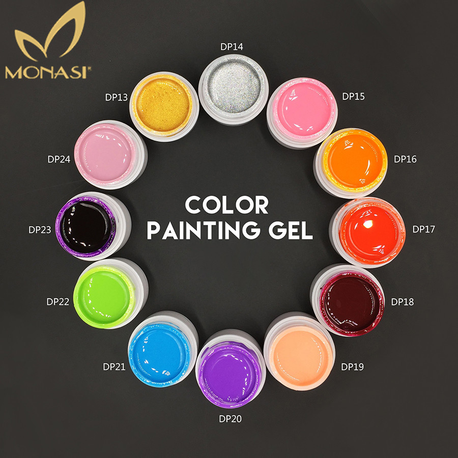 MONASI #50618 Nail Art Paint Color Gel Draw Painting Acrylic Silver Golden UV Gel Tip Nail Art Painting UV Gel Polish 1pcs Set(China (Mainland))