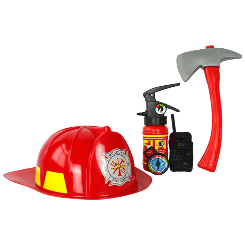 free shipping!Child cosplay ,firefighters,a set with five goods(Hat axes intercom fire extinguisher compass),novelty toy,YN081(China (Mainland))