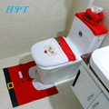 2016 Santa Claus Toilet Seat Cover and Rug Bathroom Set Contour Rug Christmas Decorations for Home
