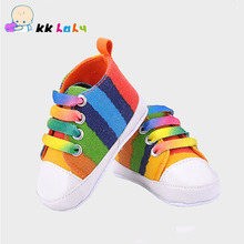 New 12 Colors Fashion Baby Girls Boys Rainbow Canvas Soft-soled Baby Shoes Toddler Shoes(China (Mainland))