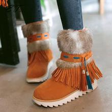 2016 Nueva Moda Negro Talón plano Tobillo de Las Mujeres Patea Los Zapatos moldeado de Felpa Suede Nubuck borla de la Mujer Botas de invierno de nieve caliente botas(China (Mainland))
