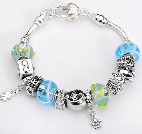 European charm braclets for women New Product Glass Beads 925 Sterling Silver Bracelets & Bangles Luminous Bracelet 7 colors(China (Mainland))