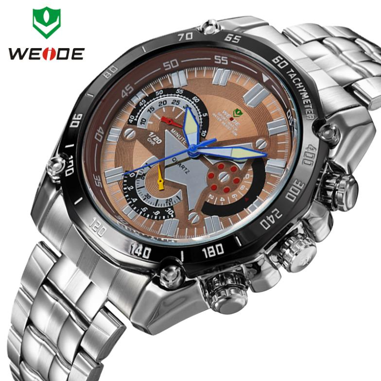 Fashion brand of military men luxury watches WEIDE all steel table light 30 meters waterproof quartz analog clock free shipping(China (Mainland))