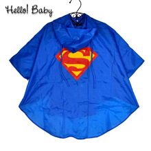 New Kids boys girls raincoat for children supermen Batman Rainwear Waterproof superhero Rainsuit(China (Mainland))