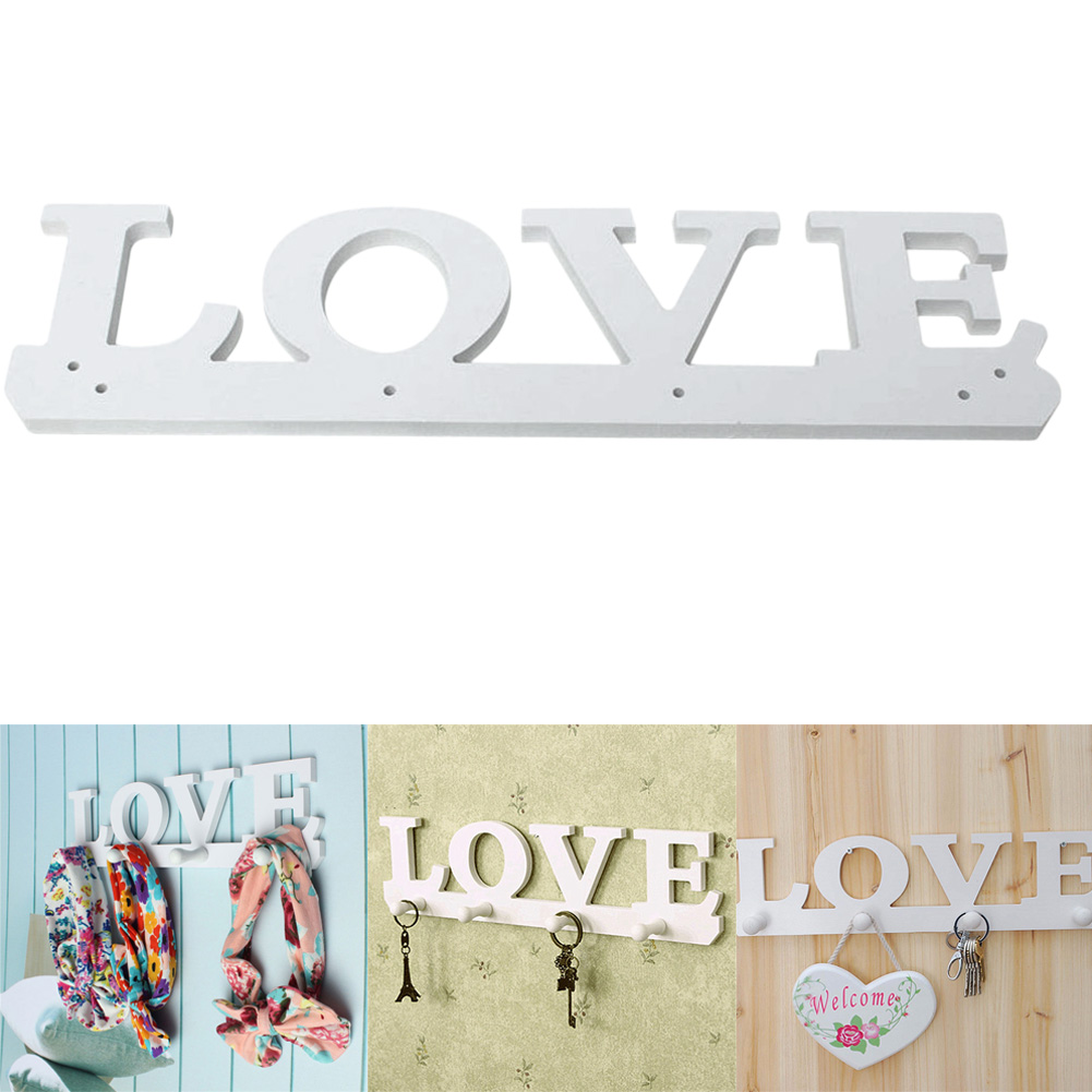 Free Shipping Vintage White LOVE Wood Hook Clothes Robe Key Holder Hat Hanger Home Decoration SGG# Best Price(China (Mainland))
